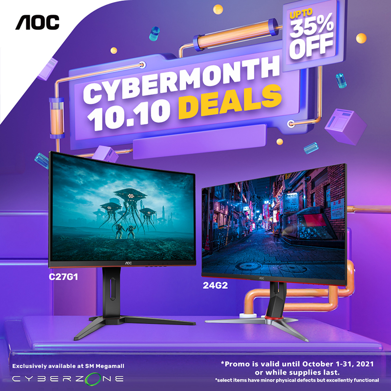 AOC has a huge surprise for gamers in the Cyber Month 2021 Gadget Sale at SM Megamall. From October 1 to 31, the market leader for gaming monitor displays is offering huge discounts for select gaming monitors with slight physical defects, such as bright and dead pixels.
